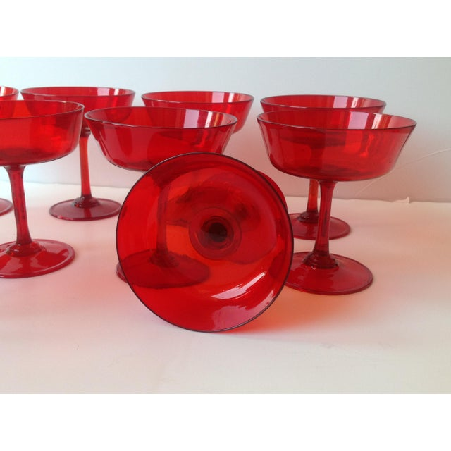 Mid-Century Ruby Red Crystal Coupe Champagne Glasses - Set of 11 - Image 4 of 6
