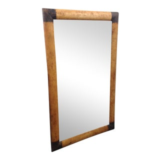 Metal Capped Full Length Leather Mirror