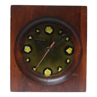 Ernest Sohn Staved Teak and Enamel Clock