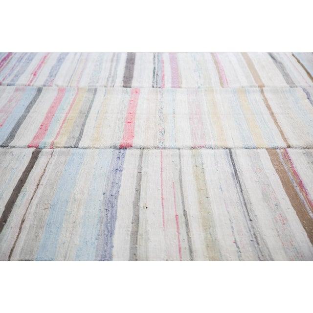 "Vintage Striped Rag Rug - 7'5"" x 9'11"" - Image 2 of 6"