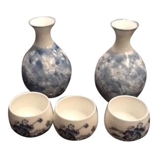 Japanese Floral Sake Bottle & Glass - Set of 5