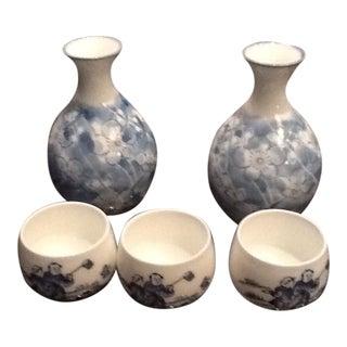 Japanese Floral Sake Bottle & Glass Set - 5