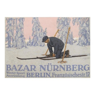 1927 Original German Mini Poster, Winter Sports