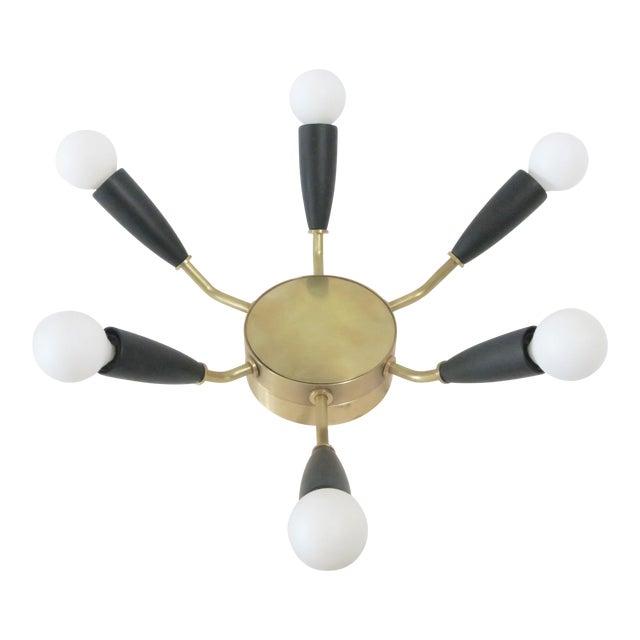 Modern Brass & Black Flush Mount Light - Image 1 of 5