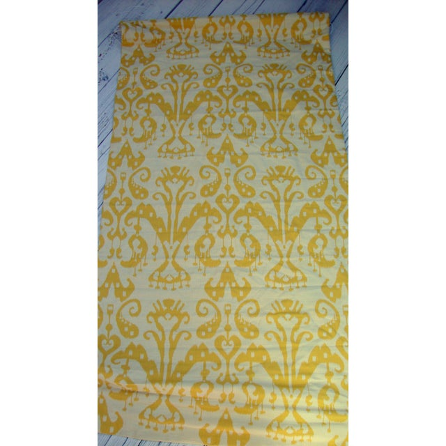 Set of 4 Custom Yellow Gold Cream Ikat Shades - Image 6 of 10
