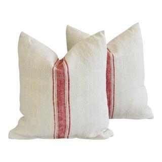 French Homespun Grain Sack Textile Feather/Down Pillows - Pair