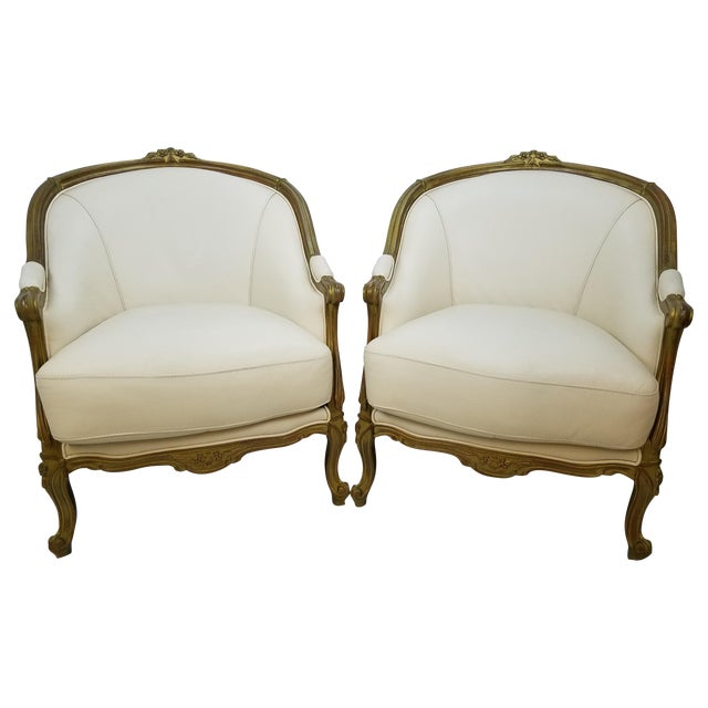 Image of Ivory Leather Bergere Club Chairs - A Pair