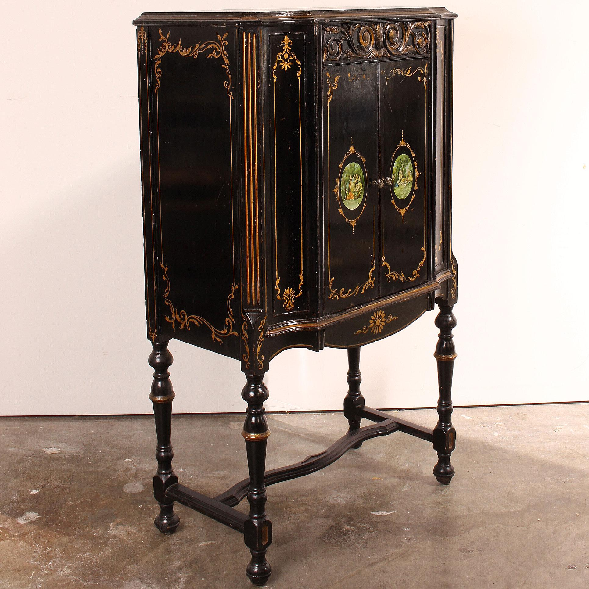 Vintage Petite French Black Lacquer Cabinet C. 1920   Image 2 Of 10