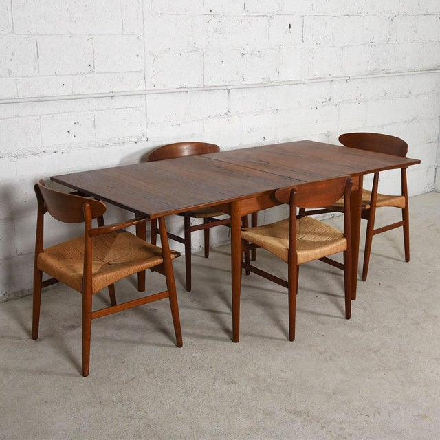 Danish Modern Teak Square to Rectangle Dining / Game Table - Image 6 of 7