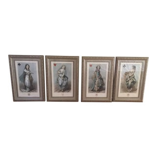 Framed Playing Cards Prints - Set of 4