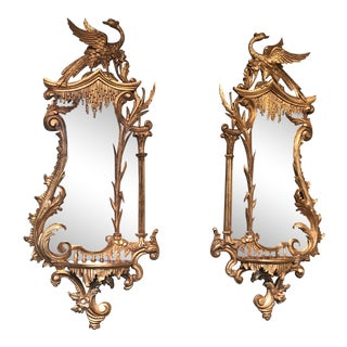 Georgian Style Guilt Wood Carved Mirrors - A Pair