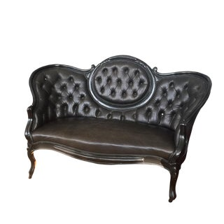 Victorian Settee Love Seat in Black Cow Hide and Black Lacguer Painted Frame