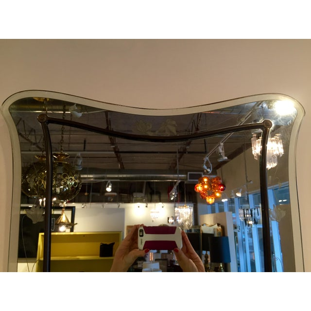 Attributed to Pietra Cheisa for Fontana Arte Mid Century Modern Italian Etched Glass Mirror - Image 3 of 6