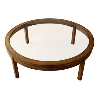 Large Round Glass Cocktail Table with Wooden Frame