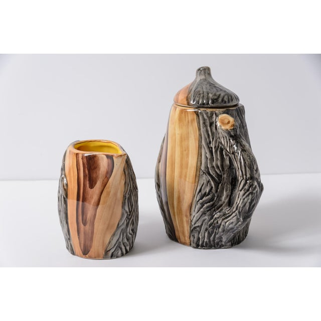 """French Vallauris Faux Bois """"Tete a Tete"""" Coffee Set - Image 3 of 10"""