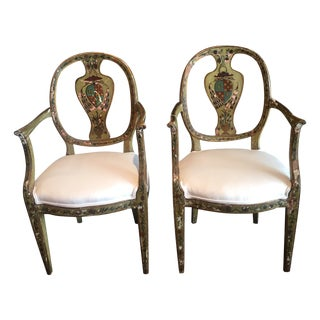 Antique 19th C. Painted French Fauteuils - A Pair