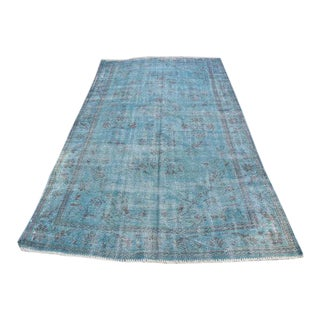 Overdyed Turkish Blue Rug - 4′11″ × 8′10″