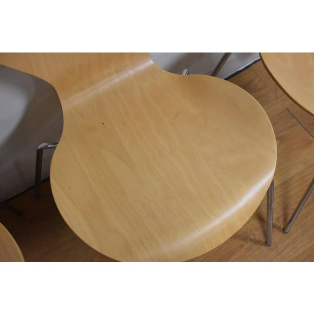 Arne Jacobsen Style Birch Dining Chairs - Set of 4 - Image 5 of 11