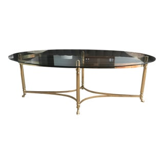 LaBarge Vintage Oval Brass Coffee Table