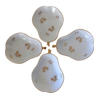 Vintage Porcelain Golden Butterfly Spice Trays- Set of 4