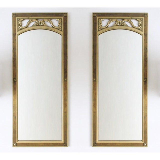 Mid-Century Modern Gilded Wood & Brass Wall Mirrors - A Pair - Image 3 of 6