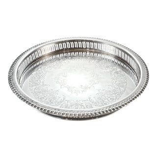 Round Silver Gallery Tray