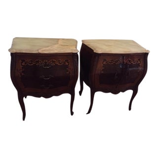 1920's Louis XV Inlaid & Onyx Side Tables - A Pair
