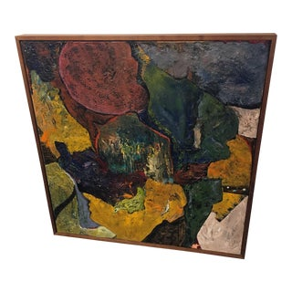 Mid-Century Textural Impasto Abstract Painting