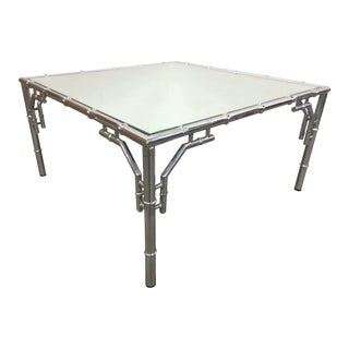 Chrome Faux Bamboo Square Cocktail Table