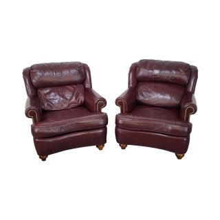 Oxblood Leather Traditional Club Chairs - A Pair