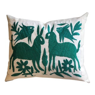 Teal Animal Motif Otomi Pillow