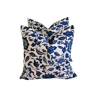 Indigo & White Down & Feather Pillows - a Pair