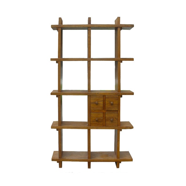 Image of Tall Thick Elm Multiple Shelves Display Cabinet