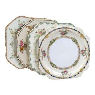 Vintage Mismatched Square Salad Plates - Set of 4