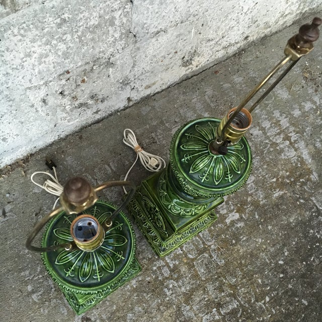 Image of Tall Ornate Green Lamps - Pair