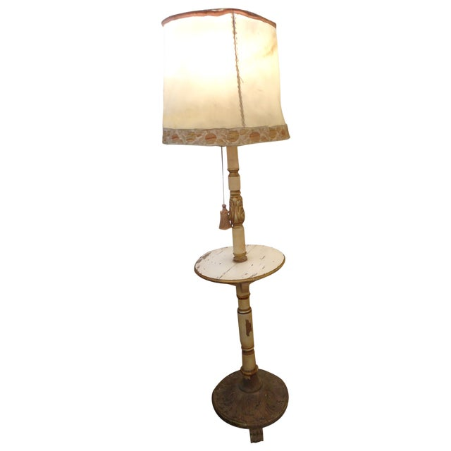 Image of Vintage Carved Wood Standing Lamp