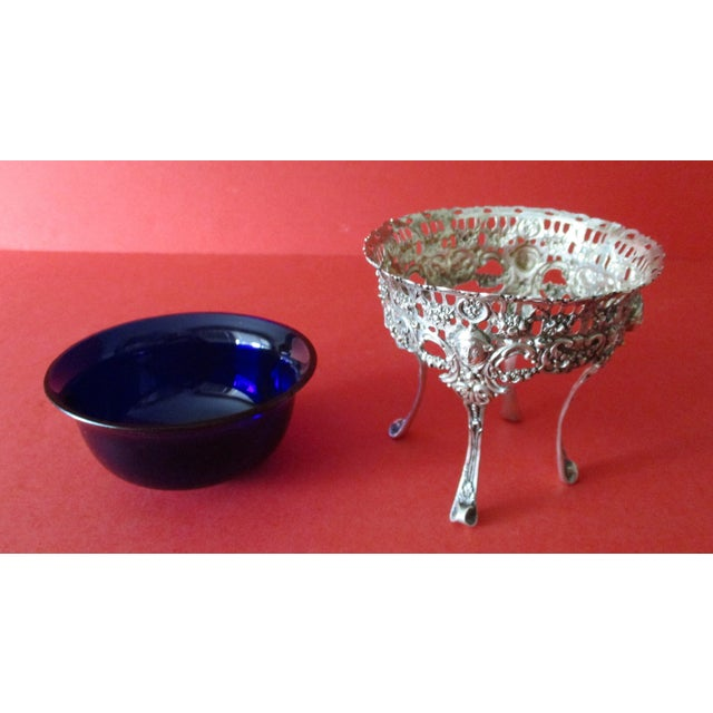 Antique Continental Silver & Blue Glass Bowl - Image 5 of 6