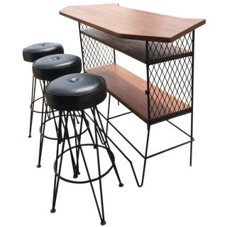 Frederick Weinberg-Attributed Bar & Bar Stools