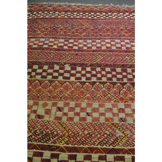 "Vintage Moroccan Wool Straw Rug - 6'8"" X 9'7"""