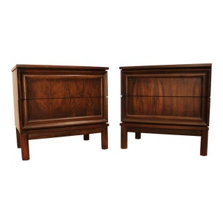 Mid-Century Danish Modern 2-Drawer Walnut Nightstands - A Pair