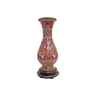 Enamel vase decorated w/Flowers