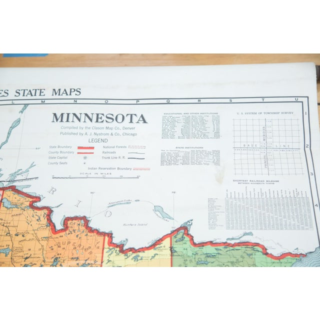 Antique Nystrom Pull Down Map of Minnesota - Image 8 of 9