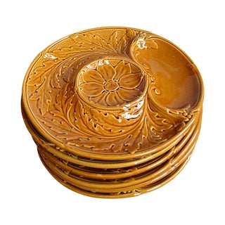 French Majolica Brown Artichoke Plates - Set of 6