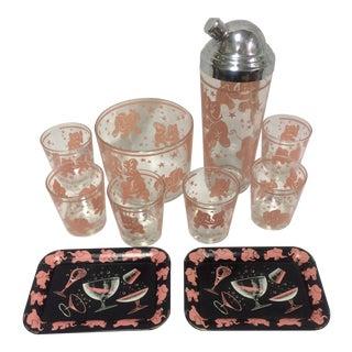 Hazel Atlas Barware Pink Elephants - Set of 10