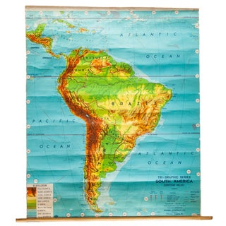 Vintage Costello South America Pull Down Map