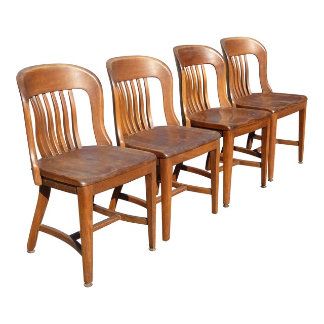Set of 4 Vintage Mid-Century Brown Solid Wood Farmhouse Chic Library School House Chairs - Image 1 of 11