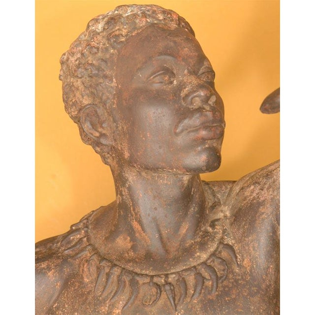 Life Size Exceptional and Rare Pair of Cast Iron Blackamoors - Image 4 of 9