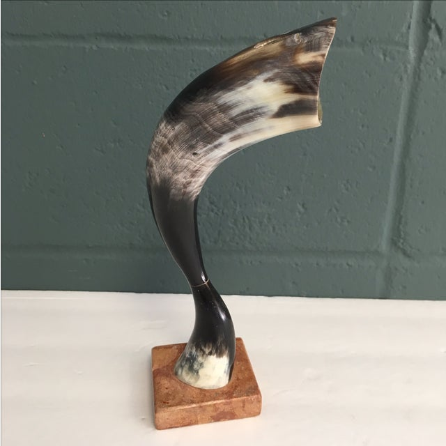 Vintage Cow Horn on Marble Pedestal - Image 2 of 6
