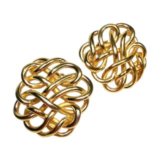 Gold Braid Clip Back Earrings