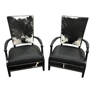 Henredon Custom Black Cow Hide Chairs - A Pair